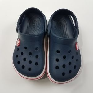 Crocs Blue Stripe Original Clogs Size 9 Toddler
